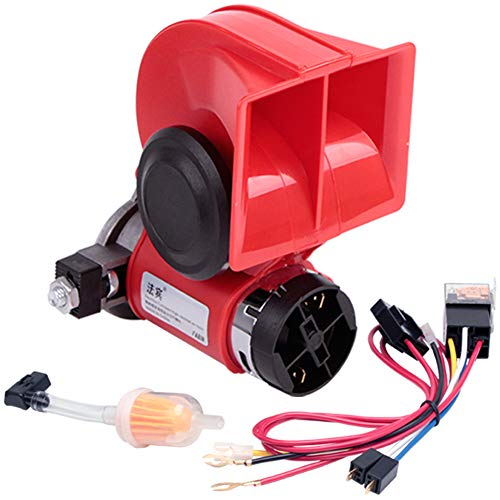 powerful FARBIN Compact Horn, Electric Vehicle Horn with Compressor Screw 12V 150db Super Loud Nautilus Wire Harness for All Vehicles 12V (12V, Red)