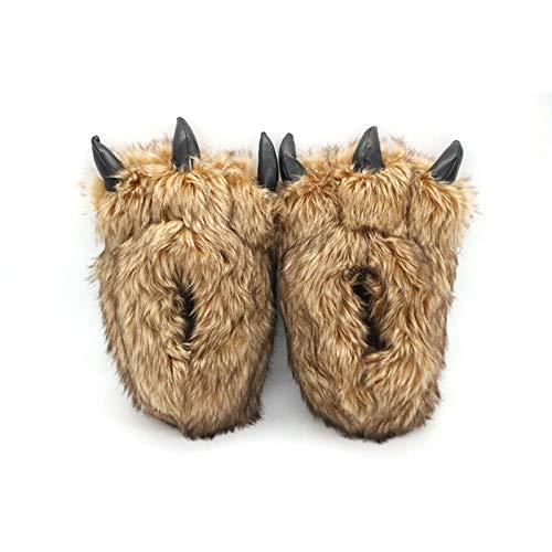 JUNENG Zapatillas de Felpa, Garra de Oso Suave Pantuflas de Invierno Divertidas, Cómodas Suave Slippers,Marrón,28