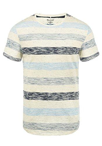 BLEND Efkin Camiseta De Rayas Básica De Manga Corta para Hombre con Cuello Redondo, tamaño:M, Color:Dusty Blue (74649)