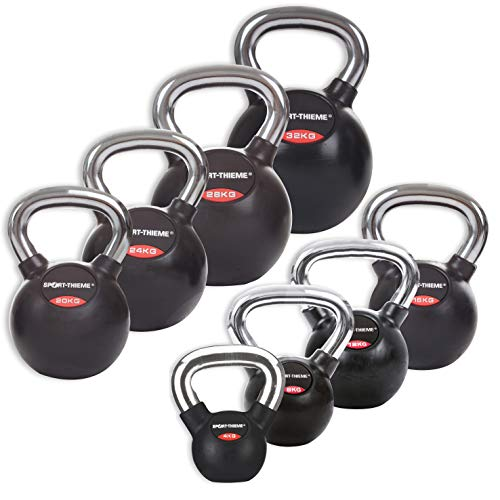 Sport-Thieme Gusseisen Kettlebell gummiert | Mit glattem Chrom-Griff | Hochwertige Kugelhantel in 11 Gewichtsklassen: 4 kg - 32 kg | Schwarz | Markenqualität