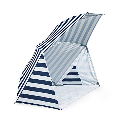 ONIVA - a Picnic Time brand Brolly Sunshelter, Navy and White Stripe