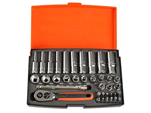 Bahco SL25L Steckschlüssel-Satz 1/4Zoll Standard, Orange