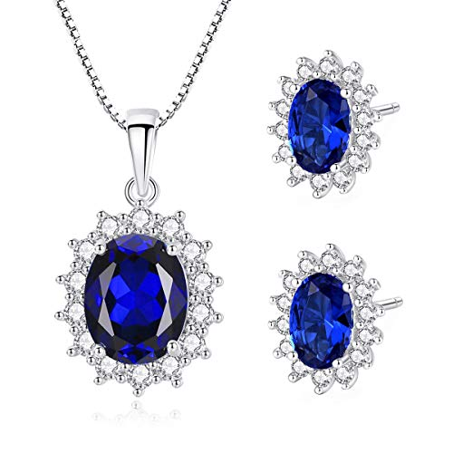 Jösva Silver Jewellery Sets for Women, 925 Sterling Silver Oval Pendant Necklace with Chain & Small Oval Stud Earrings with Blue & White 5A Cubic Zirconia, Hypoallergenic, Gift for Women