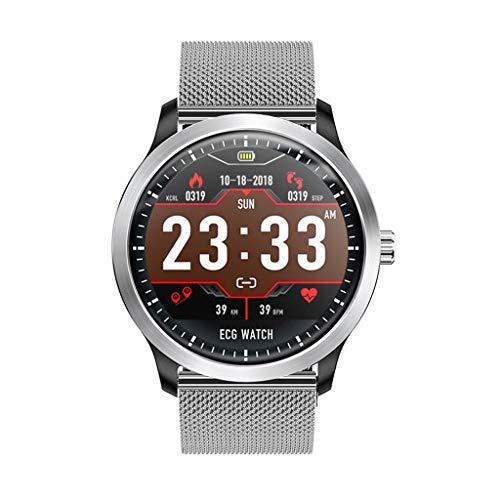 ANMY EKG Smart Armband EKG + PPG Fitness Tracker Pulsmesser Fitness Uhr HRV Blutdruck Test Armband IP67,Silversteel