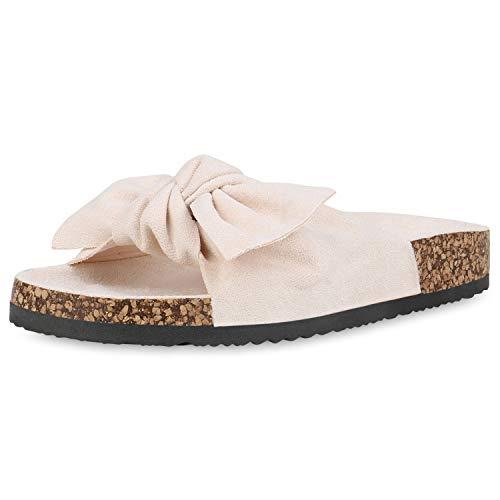 SCARPE VITA Damen Sandalen Wildleder-Optik Pantoletten Schleifen Kork-Optik Profilsohle Schuhe Flache Freizeitschuhe 193092 Creme Total 36