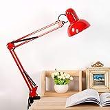 FREELX Lámpara Escritorio con Flexo Pinza Regulable Brazo Oscilante Metal Lámpara De Lectura Proteger ojo con interruptor de botón enchufe para Habitación Oficina Banco Trabajo E27,Rojo