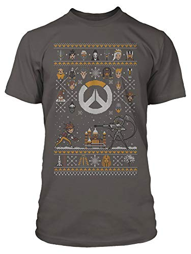 JINX Overwatch Holiday Sweater for The Heroes Men's Gamer Tee Shirt, Charcoal, XX-Large