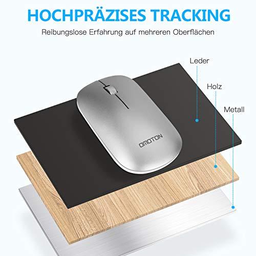 OMOTON Tastatur und Maus Kabellos, 2.4G Wireless Tastatur Maus für PC/Computer/Laptop/Notebook, Business/Home Office, Deutsches QWERTZ-Layout, Silber