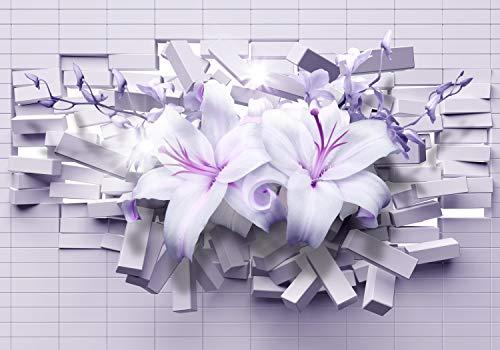 wandmotiv24 Fototapete Lilien Lila 3D, XXL 400 x 280 cm - 8 Teile, Fototapeten, Wandbild, Motivtapeten, Vlies-Tapeten, Blumen, Wand, Ziegelsteine M1718