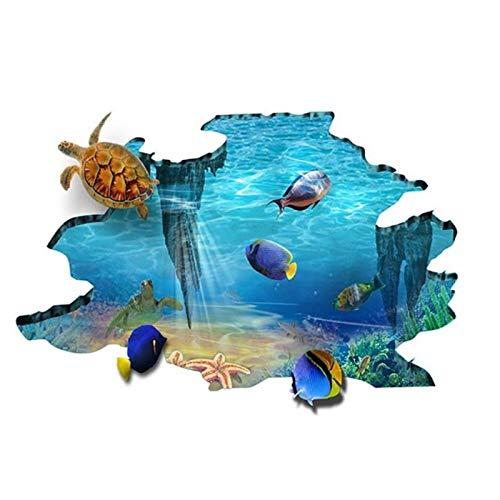 KBIASD 3D Galaxy Underwater World Wall Stickers for Ceiling Roof Window Sticker Mural Decoration Personality Waterproof Floor Sticker 87x57cm