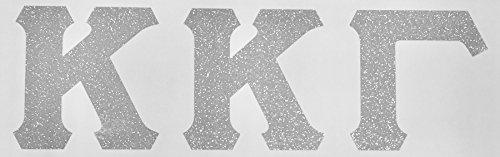 Kappa Kappa Gamma Sorority Silver Glitter Letter Sticker Decal Greek 2 Inches Tall for Window Laptop Computer Car KKG