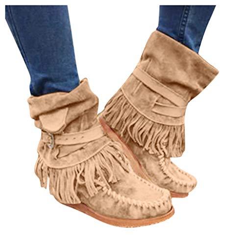 DNOQN Damen Lässig Stiefel Mode Runde Kappe Rom Retro Fransen Kurze Stiefeletten Flache Schuhe Boots Braun 40