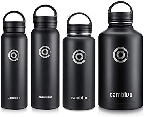 CAMBIVO Trinkflasche Edelstahl, 590/710/940/1890ml, Trinkflasche Sport, Thermoskanne, BPA Frei - Thermo Isolierflasche für Fitness, Yoga, Reise, Büro (Schwarz, 1890ml)