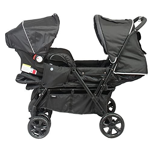 BAMBISOL - Combiné 2 en 1 Poussette Double & Siège Auto Gr0+, Pour 2 Bébés/Jumeaux dès la Naissance (Noir Gris Chiné)