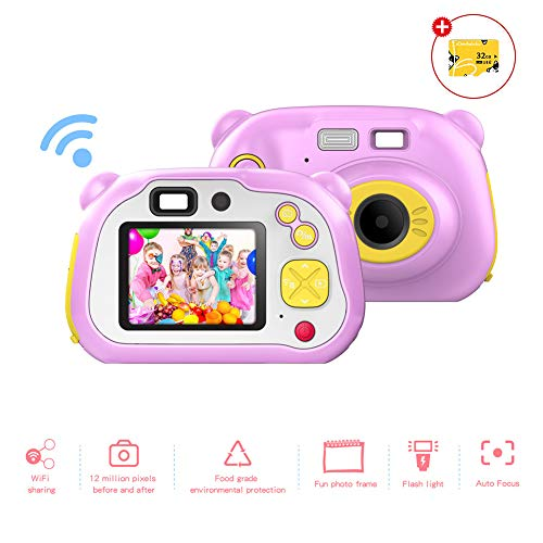 CrazyFire WiFi Kinder Kamera Autofokus-Digitalkamera mit Blitz Dual Kamera 12MP Anti-Drop Stoßfestes Design Wiederaufladbare Videokamera Kinder(Mitgelieferte 32G TF-Karte)(Rosa)
