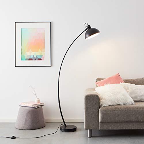 Práctica lámpara de pie de arco de 1,5 m, 1 bombilla E27 máx. 60 W de metal en negro mate.