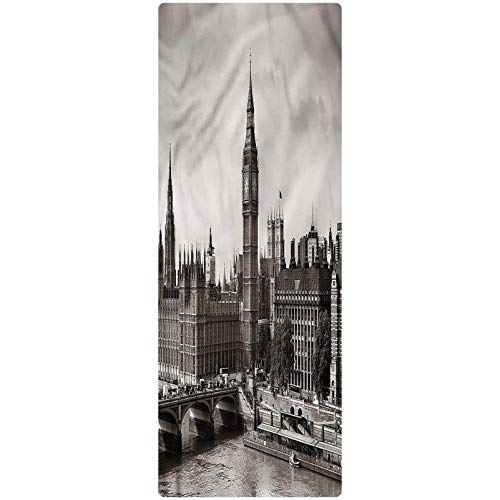 London Runner Rug, 2'x4', Westminster with Big Ben Plush Decorative Kitchen Mat with Non Slip Backing for Kitchen/Tub/Living Room