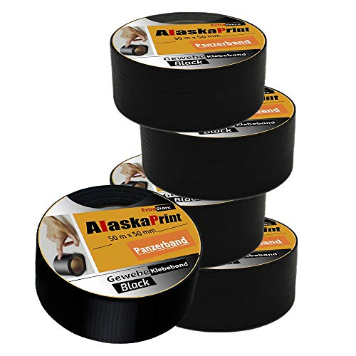 Alaskaprint 5x Panzertape Gewebeband Panzerband Gewebeklebeband schwarz Ducttape Steinband Reparaturband Reparaturklebeband gewebeband Black 48mm x 50m extra starkes klebeband