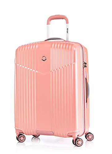 Verage V-LITE Reisekoffer Ultraleicht Ab 1,9kg Hartschale 4 Doppel-Räder TSA Schloss M-24(66L) ABS/PC Trolley Pink mit Sicherheits-Reißverschluss