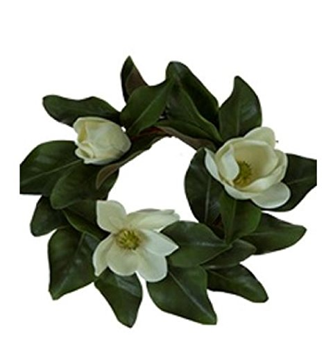 JMB Magnolia Flower and Leaf Candle Ring or Small Wreath (16 in)