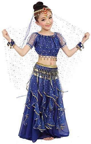 Girls Belly Dance Top Skirt Set Halloween Costume with Head Veil,Waist Chain Dark Blue