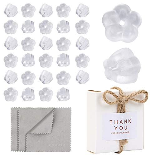 Premium Upgrade Soft Silicone Earring Backs, JJKKZVZ Earring Safety Backs Clear Bullet Eearring Backs (Flower Shaped), 350 Pcs Earring Backs Stopper with Jewelry Cleaning Cloth