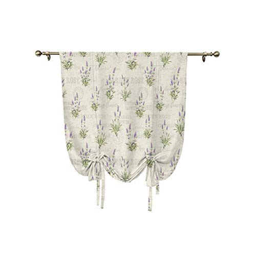 Lavender Tie Up Window Shade,Vintage Grunge Pattern with Bunch of Herbal Blossoms Faded Retro Texts Thermal Insulated Blackout Window Curtain,31x47 Inch,for Living Room Roman Curtain Lavender Green Be