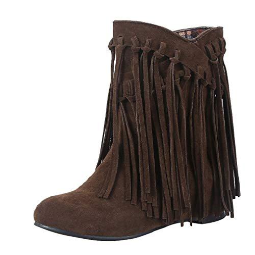 MISSUIT Damen Flache Stiefeletten mit Fransen Ankle Boots Retro Herbst Winter Schuhe(Dunkelbraun,39)