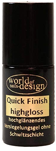 World of Nails-Design LED/UV Quick Finish highgloss, hochglänzendes Versiegelungsgel ohne Schwitzschicht Pinselflasche 6ml