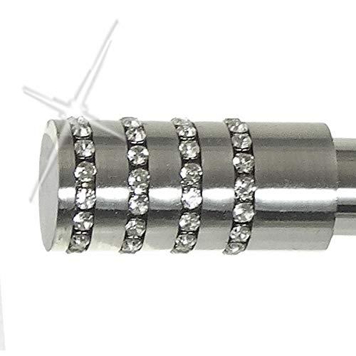 BASIT Endstück f. 20mm Gardinenstangen Edelstahl Look Kappe Kristall - Designs wählbar, Modell:E39