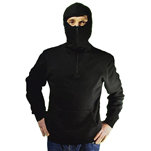 Sudadera con capucha Ultras Estadio Ninja con pasamontañas y cremallera negro Medium
