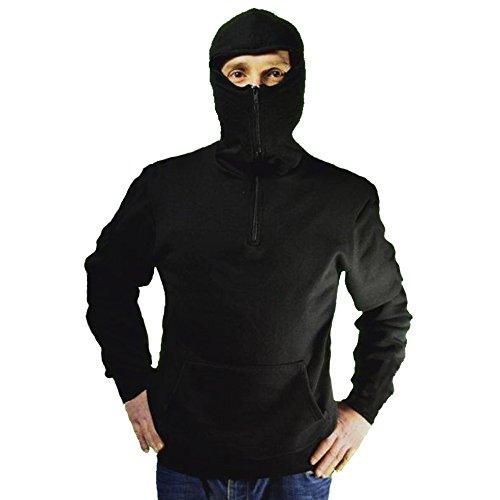 Sweatshirt für Stadion Ninja-Stil, für Ultras, mit Kapuze Sturmhaube und Reißverschluss, Schwarz XL