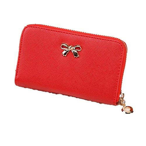 Vovotrade Femmes Korean Mignon Bowknot Sac à Main Solide Portefeuille à Court Portefeuille (14cm x 9cm x 2cm, Rouge)
