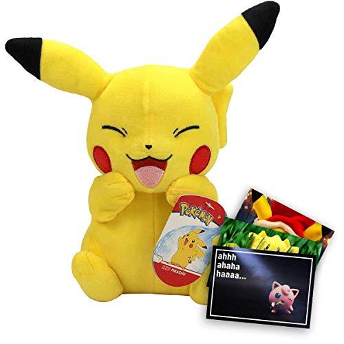 Lively Moments Pokemon Plüschtier / Kuscheltier / Stofftier sitzendes Pikachu Happy ca. 20 cm + Exklusive GRATIS Grußkarte
