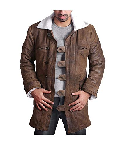 Feather Skin Bane Mantel Herren Tom Hardy echte Distressed Leder Shearling Mantel The Dark Knight Rises-3XL