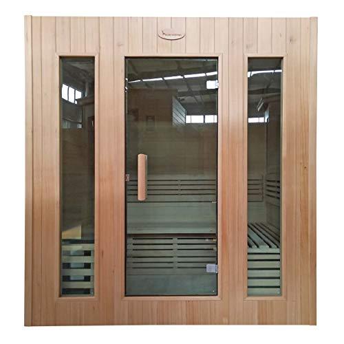 Mendler Sauna HWC-D59, Saunakabine Wärmekabine, Saunaofen 4,5kW Saunasteine Sicherheitsglas 4...