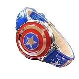 LJYLQW Montre pour Enfants, Montre à Quartz Captain America Simulation, Bracelet en Cuir, Montre pour Garçon Professeur de Temps,Blue