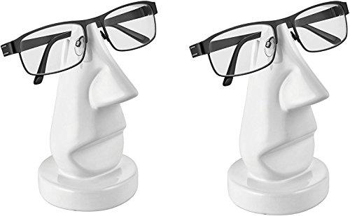 satis Sparset 2 x Brillenständer Nase I Schöne Keramik Ständer für je Eine Brille I Deko Brillenhalter Weiß, Modern I EIN Paar Brillenablagen I Ständer für Brillen I Brillenaufbewahrung
