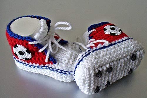 Babyschuhe Fußballschuhe gestrickt gehäkelt Wunschfarbe
