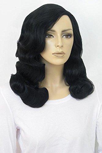 Style années 1940 Perruque, Noir avec de longs Marcel Waves : Vivienne