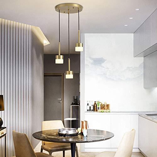 XXYHYQHJD Techo LED Cilindro de Cobre Caliente de la lámpara de la lámpara de luz Amarilla Comedor Sala de Estudio Dormitorio Simple Oro Colgante de luz (Color : B)