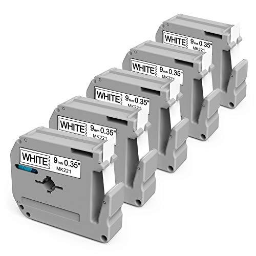 Aken Kompatibel Schriftband als Ersatz für Brother MK 221 MK221bz M-K221S M tape 9mm für Brother Ptouch 60 PT65 PT75 PT80 PT85 PT90 PTM95 PT110,Schwarz auf weiß, 5er