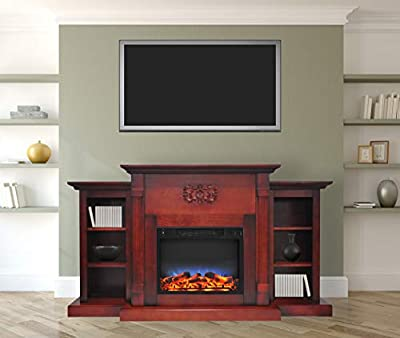 Cambridge CAM7233-1CHRLED Sanoma 72 in. Electric Fireplace in Cherry with Bookshelves and a Multi-Color LED Flame Display