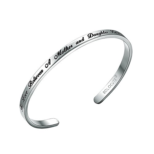 Solocute Silber Damen Armband mit Gravur The Love Between A Mother and Daughter Knows No Distance Inspiration Frauen Armreif Schmuck