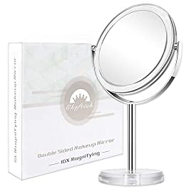 Cheftick Double Side Magnifying Makeup Mirror, 1X & 7X Magnification High Definition Tabletop Vanity Mirror, 360°Rotation