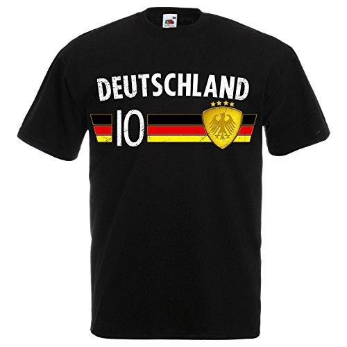 Fußball WM T-Shirt Fan Artikel Nummer 10 - Weltmeisterschaft 2018 - Länder Trikot Jersey Herren Damen Kinder Deutschland Germany Schwarz-Weiß XL