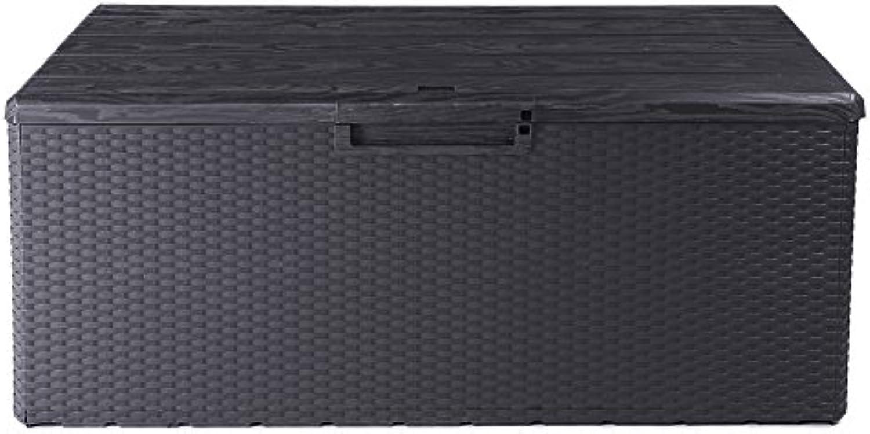 Ondis24 Kissenbox Fino Sitztruhe 340L Auflagenbox regensicher Gartenbox abschliebar mit Gasdruckhebern (anthrazit)