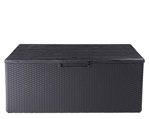 Ondis24 Kissenbox Fino Sitztruhe 340L Auflagenbox Gartenbox abschließbar mit Gasdruckhebern Gartentruhe (anthrazit)