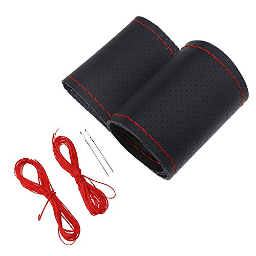 Lenkradbezug Lenkradhülle zum Schnüren Perforiertes Schwarz Echtes Leder mit 2 Nadeln 2 Bündel Roter Faden für Lenkrad Durchmesser 37-38 cm