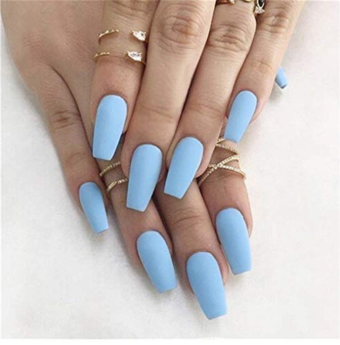 MISUD 24Pcs Matte Ballerina Long Coffin False Nails Full Cover Acrylic Fake Nails Press on Nail Sticker Pure Sky Blue for Women and Girls